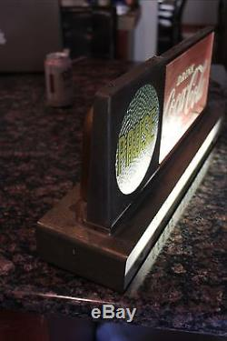 Pause Drink Coca Cola Coke light up counter top sign clock 1950's serve yoursef