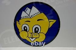 Piggly Wiggly Heavy Round Die Cut Steel Enamel Sign 20 Inches In Diameter