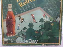 RARE 1920s-30s COCA- COLA Canada Hockey litho cardboard Sign Toronto Maple Leafs