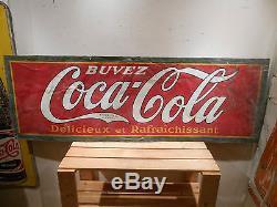 Rare 1930's Coca Cola Coke Large 58 X 20 Soda Pop Tin Sign No Reserve