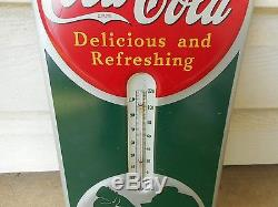 RARE 1939 COCA COLA SILHOUETTE GIRL METAL THERMOMETER EXCELLENT