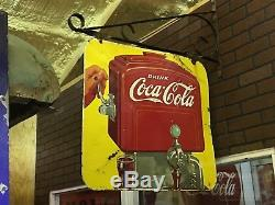 RARE 1939 Drink Coca-Cola COKE Fountain Dispenser Doublesided PORCELAIN Sign OLD