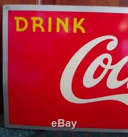 RARE 1940s COCA-COLA Bottle in Sun Metal SIGN. L@@K