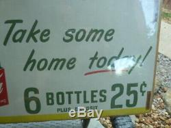 RARE 1950 Coca Cola SPRITE BOY Litho Store Advertising Poster Sign 25 X 10