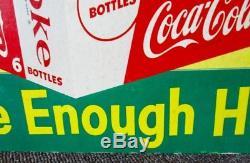 RARE 1950s COCA-COLA Die Cut 6 Pack SIGN. Take Enough Home