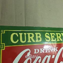 RARE CURB SERVICE COCA COLA PORCELAIN ENAMEL SIGN 24 x 16 Inch