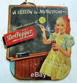 RARE Dr Pepper Soda Pop Cardboard Fan or Light Pull SIGN A Lesson In Nutrition