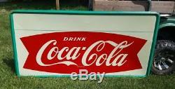 RARE Large 6 x 3 feet 1964 Robertson fishtail style Coca-Cola sign