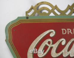 RARE ORIGINAL 1930s COCA-COLA Wood Triangle Advertising Sign by Kay Displays yqz
