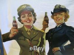 RARE ORIGINAL 1944 COCA COLA SERVICE GIRLS COMPLETE SET WithSTAND RARE MILITARY
