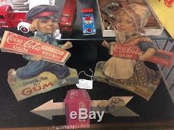 RARE Original Antique 1915 Dutch Boy and Girl Coca Cola Pepsin Gum Sign