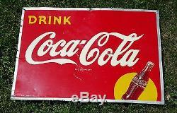 RARE Original Coca Cola Tin Advertising Sign RSC Made in USA 1949