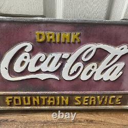 RARE Vintage 1930sDrink Coca Cola Fountain Service Cast Iron Bench Plaque Sign