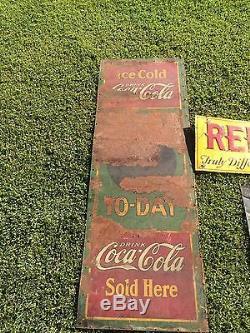 RARE Vintage 1932 Metal Coca-Cola Gas Price To-Day Vertical Sign Non Porcelain