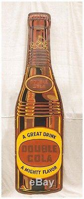 RARE! Vintage Large Tall vertical Die-cut Double Cola Metal Bottle Sign