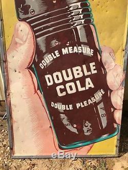 RARE Vintage Large Vertical Original Double Cola Sign