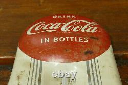 RARE Vintage Original 1950's Coca Cola Red Button Thermometer Sign Working