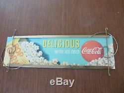 RARE Vintage Original Coca Cola Cardboard Sign with Original Metal Display