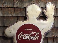 RARE Vintage Original NO PARKING Coca Cola Coke Crossing Guard Police Man Sign