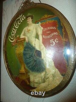 RARE c. 1905 Coca Cola LILLIAN NORDICA Celluloid CAMEO chain hanging sign