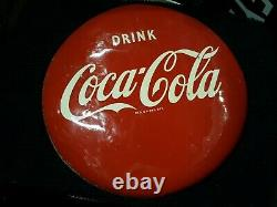 Rare1 of a knd Porcelain 1940-50s16 Coca Cola Metal Sign with White and Blk Back
