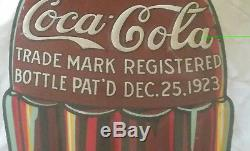 Rare 1933 Embossed Metal Coca-Cola Christmas Bottle Sign