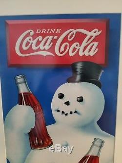 Rare 1936 Coca cola SNOWMAN Cardboard sign