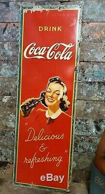 Rare 1941 Drink Coca Cola Masonite Advertising Sign Delicious & Refreshing Coke