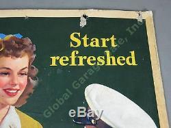 Rare 1943 Drink Coca Cola Start Refreshed Cardboard Litho Sign Judy Garland NR