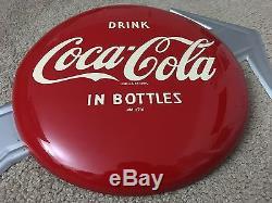 Rare 1950 12 Coca Cola Arrow Button Sign In The Bottle Soda Fountain Sign Mint
