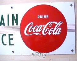 Rare 1950's Porcelain Enamel 29 Drink Coca-Cola Fountain Service Sign Nice