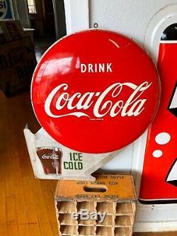 Rare 1950s Coca Cola Double Button Soda Advertising Flange Sign
