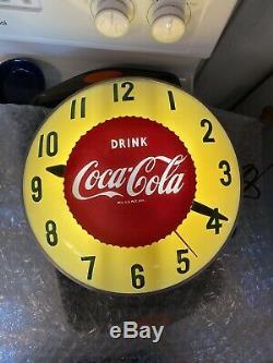 Rare 1950s Swihart Sunburst Drink Coca Cola Double Bubble Lighted Clock Works