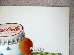 Rare 1957 Coca Cola Whimsical Snowman & Bottle Sleigh Cardboard Lithograph