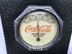 Rare Antique 1930's Coca-Cola Leather Thermometer Coke Sign Soda Advertising