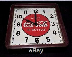 Rare Antique Coca Cola Select advertising Wood Clock Sign Nice