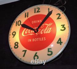 Rare Antique Original 1950's Coca Cola Bubble Glass advertising Clock Sign