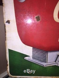 Rare Circa 1960s Coca Cola Fountain Dispenser Doublesided Porcelain Sign