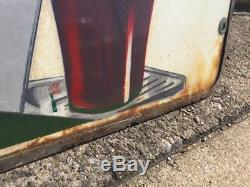 Rare Coca Cola Fountain Dispenser Doublesided Porcelain Sign