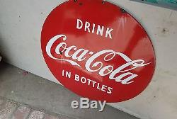 Rare Coca Cola Lollipop Porcelain 30 Double Sided Sign 1950's