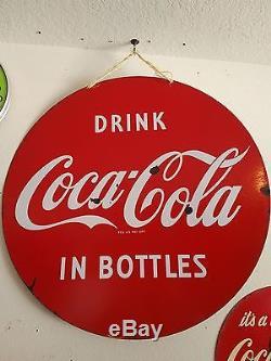 Rare Coca Cola Lollipop Porcelain 30 School Sign 1950's