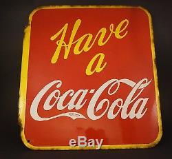 Rare Coca-Cola Porcelain Flange Sign Have a Coca-Cola 1941 Canadian