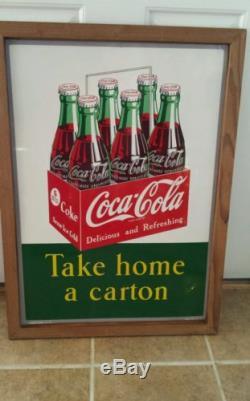 Rare Coca Cola Take home a carton sign