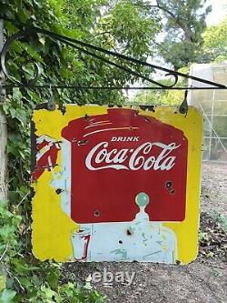 Rare Original 1940s Double Sided Porcelain Coca Cola Soda Fountain Hanger Sign