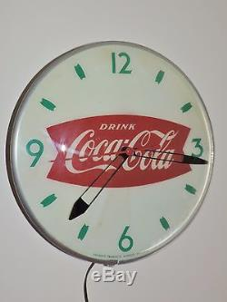 Rare Original 1950's Coca Cola Bubble Glass advertising Clock Sign! Nice