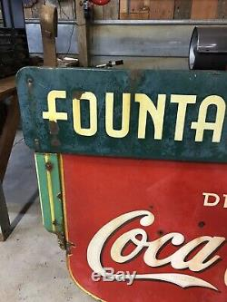 Rare Original Coca Cola Porcelain Sign Fountain Service 1930s Soda Signs Coke