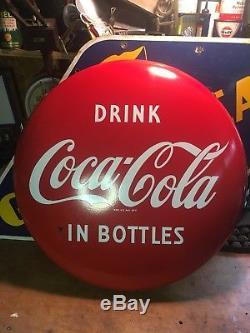 Rare Original Hanging 24 Inch Porcelain Coca Cola Button Sign