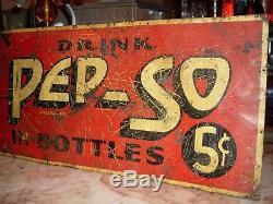 Rare Scarce 1900's early tin PEP-SO Soda Fountain Cola 5c bottles tacker sign