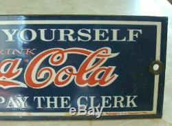 Rare Scarce Coca Cola Serve Yourself Soda Fountain Porcelain Sign Mint
