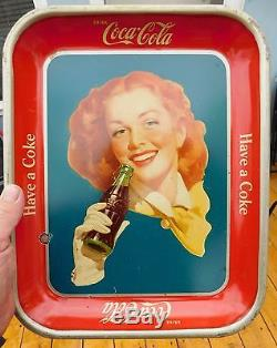 Rare Solid Background Original Vintage 1950 Red Hair Girl Coca Cola Serving Tray